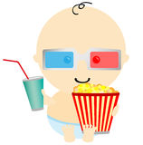 Baby in 3D cinema Royalty Free Stock Photography