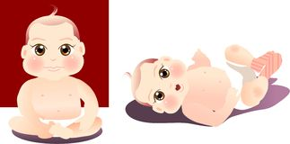 Baby. Vector illustration for a baby boy sitting, lay down Royalty Free Stock Photography