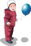Baby. With blue ball. Vector illustration stock illustration