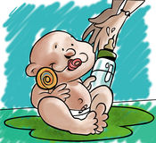 Baby. Waiting for his mother stock illustration