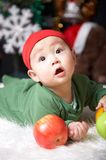 Baby. Cute baby at winter holiday night Royalty Free Stock Images
