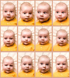 Baby. Changing mimicry of child in the flow of one minute Stock Photos