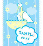 Baby. Arrival announcement card with stork Royalty Free Stock Photography