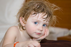 Baby. Beautiful little girl after swimming Royalty Free Stock Photography