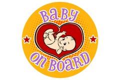 Baby aan boord, embryo in de uterus stock illustratie