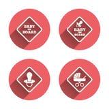 Baby aan boord van pictogrammen De tekens van de zuigelingsvoorzichtigheid Royalty-vrije Stock Foto