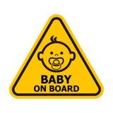 Baby aan boord van teken Stock Afbeeldingen