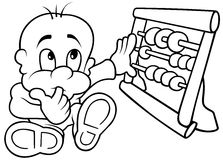 Baby and Abacus. Black and White Cartoon illustration, Vector Royalty Free Stock Photography
