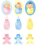 Baby accesories icons set. For baby in pastels color. Girls and boys, teddy bear,feeding-bottle royalty free illustration