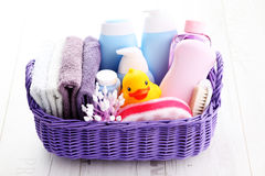 Baby accessories. Basket full of baby accessories - children stock images