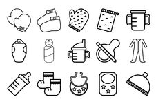 Baby accessories flat line icons. A set of baby accessories icons in flat line style Stock Photo