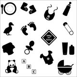 Baby Accessories in Silhouette. Collection of baby accessories in silhouette Stock Images