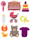 Baby accessories and toys Stock Photos