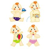 Baby action 3. A series of baby action, playing car & ball, pee, drinking milk, vector, illustration Stock Photos