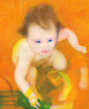 Baby, airbrush. Hand painted, airbrush, picture with little baby Royalty Free Stock Photography