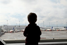 Baby in the airport Stock Images