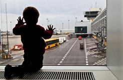 Baby in the airport Royalty Free Stock Photography