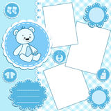 Baby album page. Blue. Stock Images