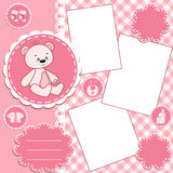 Baby album page. Pink. Stock Photography