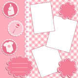 Baby album page. Pink. Royalty Free Stock Images