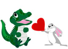 Baby alligator and bunny love Royalty Free Stock Image