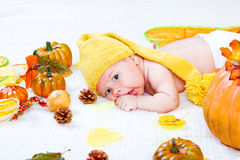 Baby amongst leaves and vegetables Stock Photos