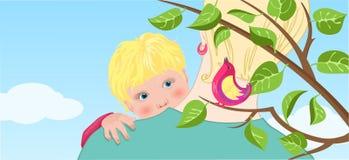 baby&bird Lizenzfreie Stockfotografie