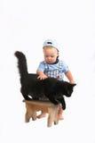 Baby & blackcat Royalty-vrije Stock Foto's
