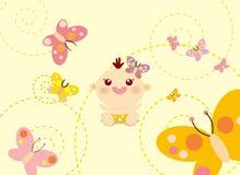 Baby & vlinder Stock Afbeeldingen