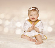 Baby Ancient Dress, Kid Girl in White Clothes Folded Hands, One Stock Photography