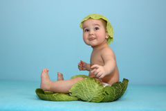 Baby And Cabbage Royalty Free Stock Images