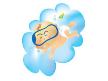 Baby angel 02. Baby angel swimming in a cloud stock illustration
