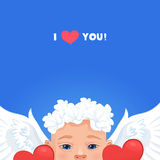 Baby angel on a blue background. 'I love you' card Royalty Free Stock Images