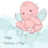 Baby angel on a blue cloud Royalty Free Stock Photo