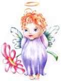 The baby is angel with flower Stock Photo