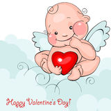 Baby angel with heart Stock Photo