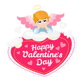 Baby angel vector cartoon character. Happy Valentines Day. wings on a cloud. Greeting card. Cupid lying  Stock Image