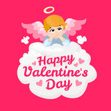 Baby angel vector cartoon character. Happy Valentines Day. wings on a cloud. Royalty Free Stock Photos