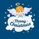 Baby angel vector cartoon character. Merry Christmas.  wings on a cloud.. Baby angel vector cartoon character. Merry Christmas. Angel wings on a cloud. Greeting Royalty Free Stock Photo