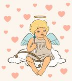 Baby angel with wings. Beautiful baby angel with wings Stock Photo