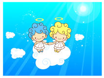 Baby Angels Mascot are pendency. Angel Character Design Series. Stock Photos