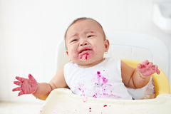 Baby angry and crying Stock Images