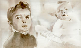 Baby and Kid. Hand painting - portrait of baby and child. Technique: watercolor on paper Stock Image