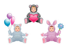 Baby animal. Children in suit of animal on a white background royalty free illustration