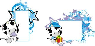 Baby cow cartoon feeding bottle copy space. Baby animal cartoon feeding bottle in vector format very easy to edit royalty free illustration