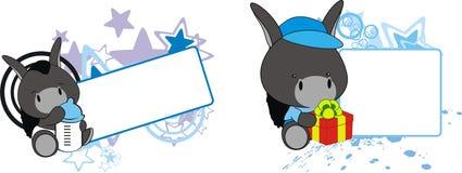 Baby donkey cartoon feeding bottle copy space. Baby animal cartoon feeding bottle in vector format very easy to edit vector illustration