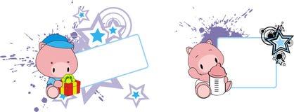 Baby pig cartoon feeding bottle copy space. Baby animal cartoon feeding bottle in vector format very easy to edit royalty free illustration