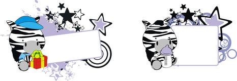 Baby zebra cartoon feeding bottle copy space. Baby animal cartoon feeding bottle in vector format very easy to edit stock illustration