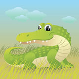 Baby Animal collection: Crocodile. Illustration of a cute little baby crocodile Royalty Free Stock Photo