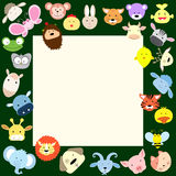 Baby animal face frame. Illustration for kids Stock Photography